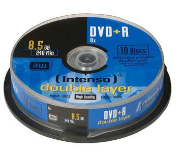 DVD+R Double Layer 3,5GB 8X 10τεμ Cake Intenso