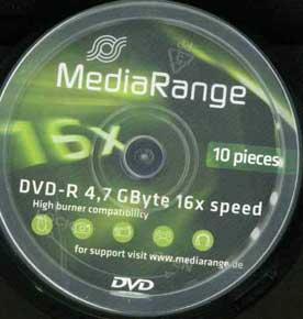 DVD-R Media Range 4,7GB 16X Speed 10τεμ